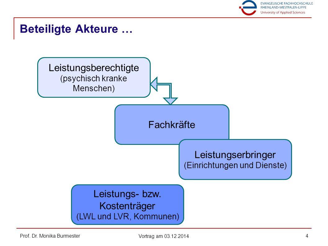 Beteiligte Akteure … Prof. Dr. Monika Burmester Vortrag am 03.12.2014 4 Leistungsberechtigte (psychisch kranke Menschen) Fachkräfte Leistungserbringer