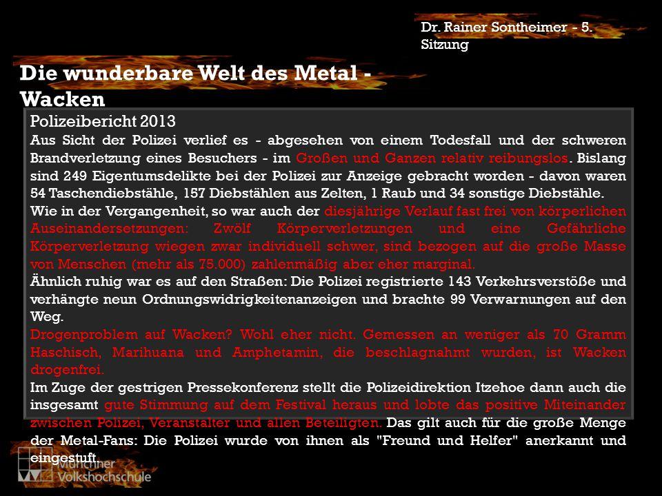 Die Welt des Metal/Rock Dr.Rainer Sontheimer - 5.