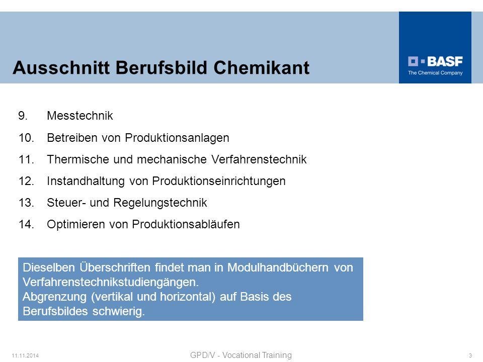 Ausschnitt Berufsbild Chemikant 11.11.2014 GPD/V - Vocational Training 3 9.Messtechnik 10.Betreiben von Produktionsanlagen 11.Thermische und mechanisc
