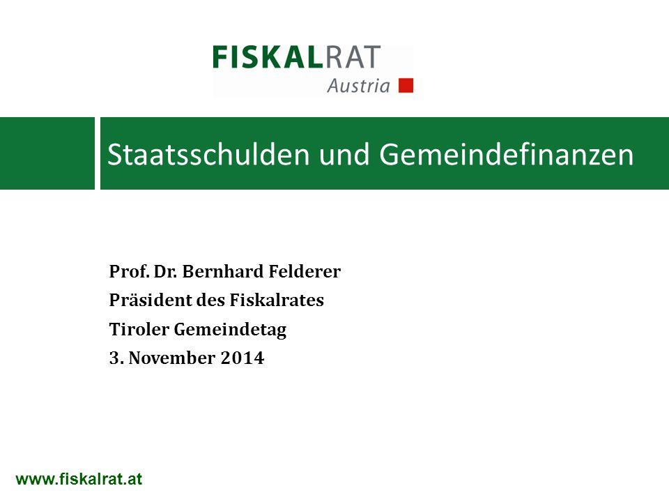 Prof. Dr. Bernhard Felderer Präsident des Fiskalrates Tiroler Gemeindetag 3. November 2014 Staatsschulden und Gemeindefinanzen www.fiskalrat.at