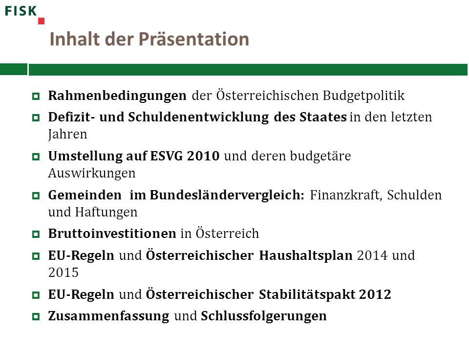 Inhalt der Präsentation  Rahmenbedingungen der Österreichischen Budgetpolitik  Defizit- und Schuldenentwicklung des Staates in den letzten Jahren 