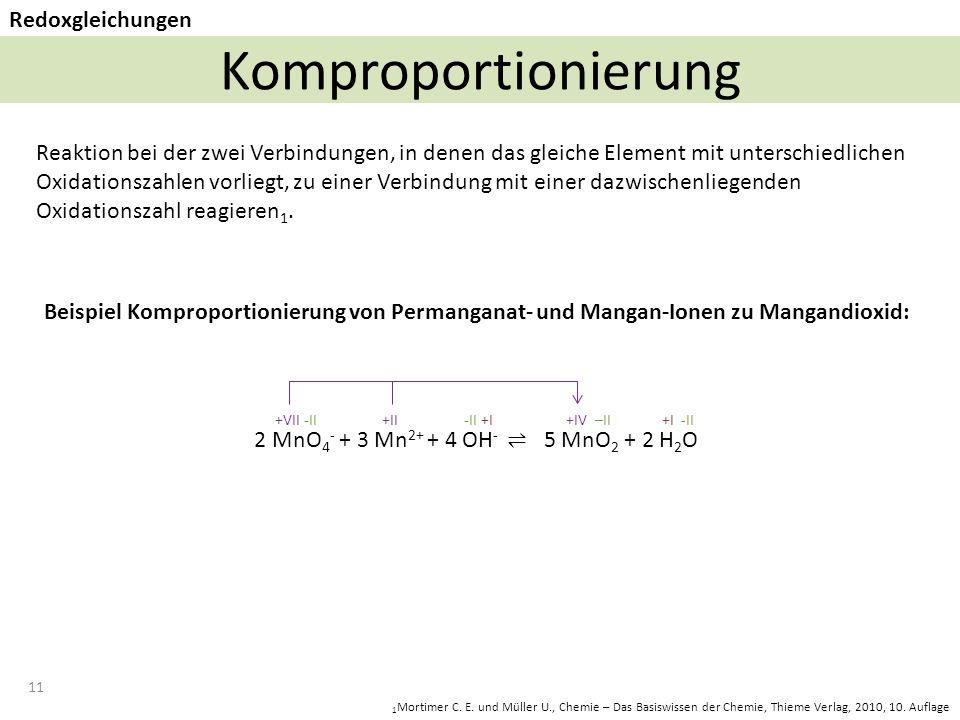 11 Komproportionierung Redoxgleichungen 1 Mortimer C.