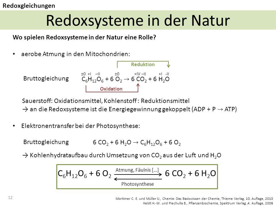 12 Redoxsysteme in der Natur Redoxgleichungen ±0 +I –II ±0 +IV –II +I -II Reduktion Oxidation Atmung, Fäulnis […] Photosynthese Mortimer C.