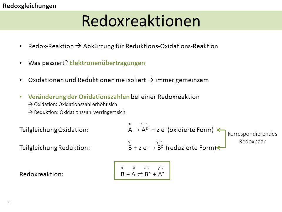 4 Redoxreaktionen Redoxgleichungen korrespondierendes Redoxpaar