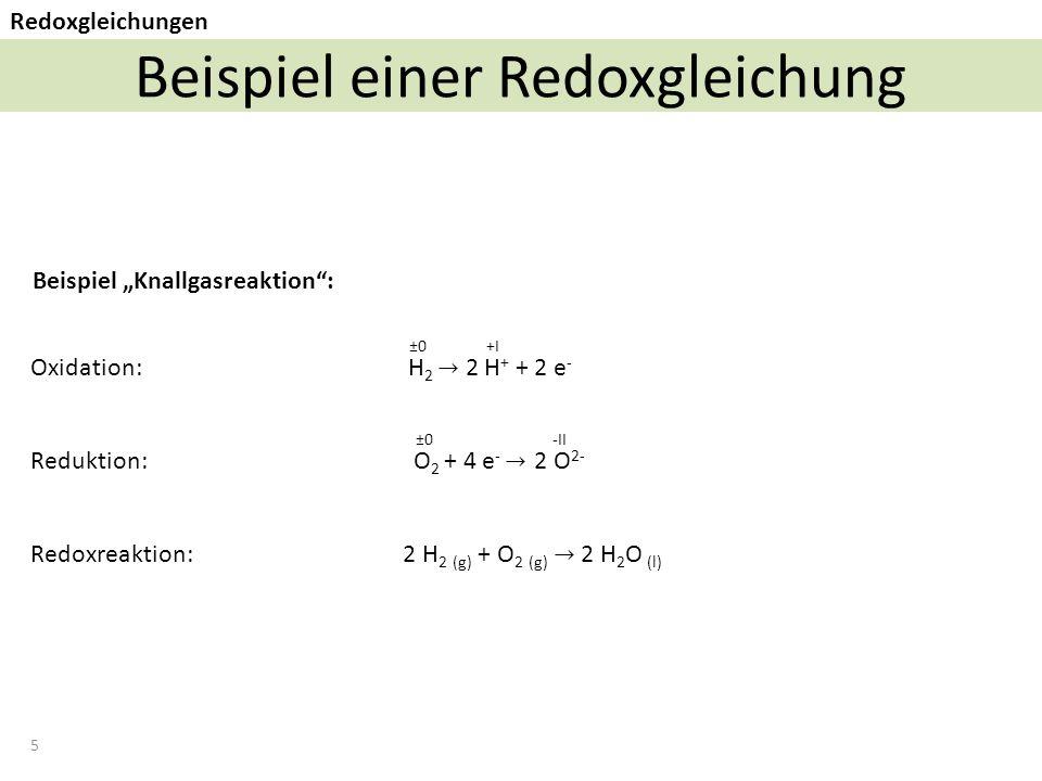 """5 Beispiel einer Redoxgleichung Redoxgleichungen Beispiel """"Knallgasreaktion : ±0 -II ±0 +I"""