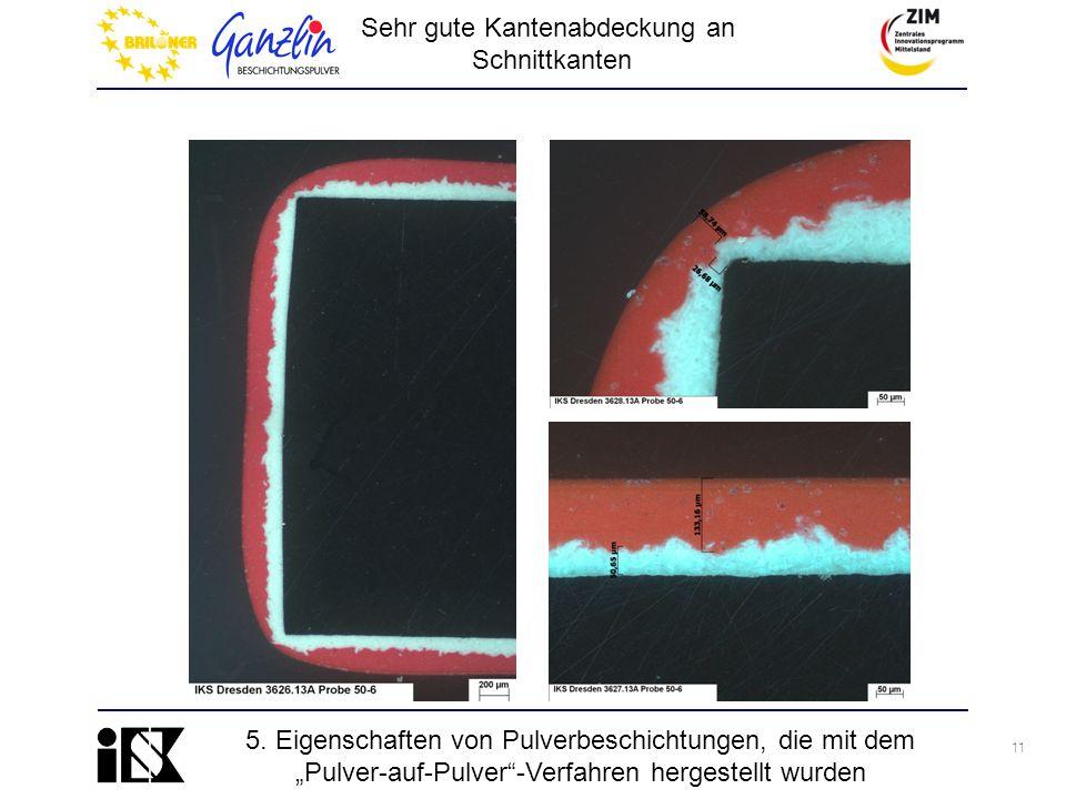 """11 5. Eigenschaften von Pulverbeschichtungen, die mit dem """"Pulver-auf-Pulver""""-Verfahren hergestellt wurden Sehr gute Kantenabdeckung an Schnittkanten"""