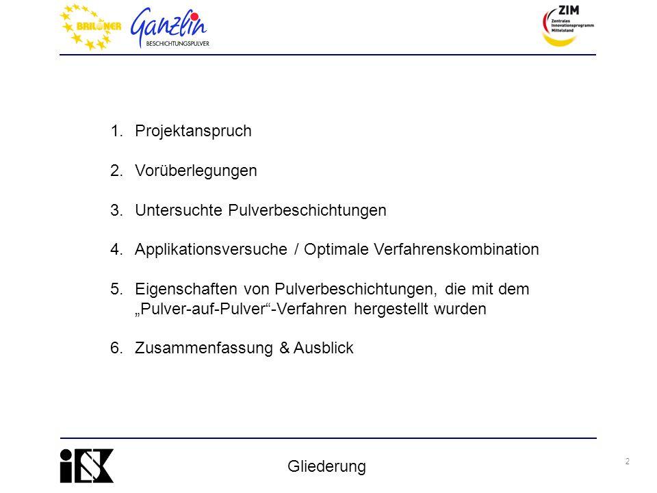 2 Gliederung 1.Projektanspruch 2.Vorüberlegungen 3.Untersuchte Pulverbeschichtungen 4.Applikationsversuche / Optimale Verfahrenskombination 5.Eigensch