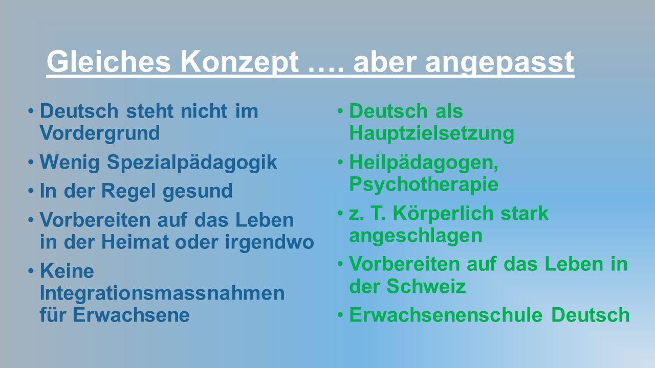 Gleiches Konzept …. aber angepasst Deutsch steht nicht im Vordergrund Wenig Spezialpädagogik In der Regel gesund Vorbereiten auf das Leben in der Heim
