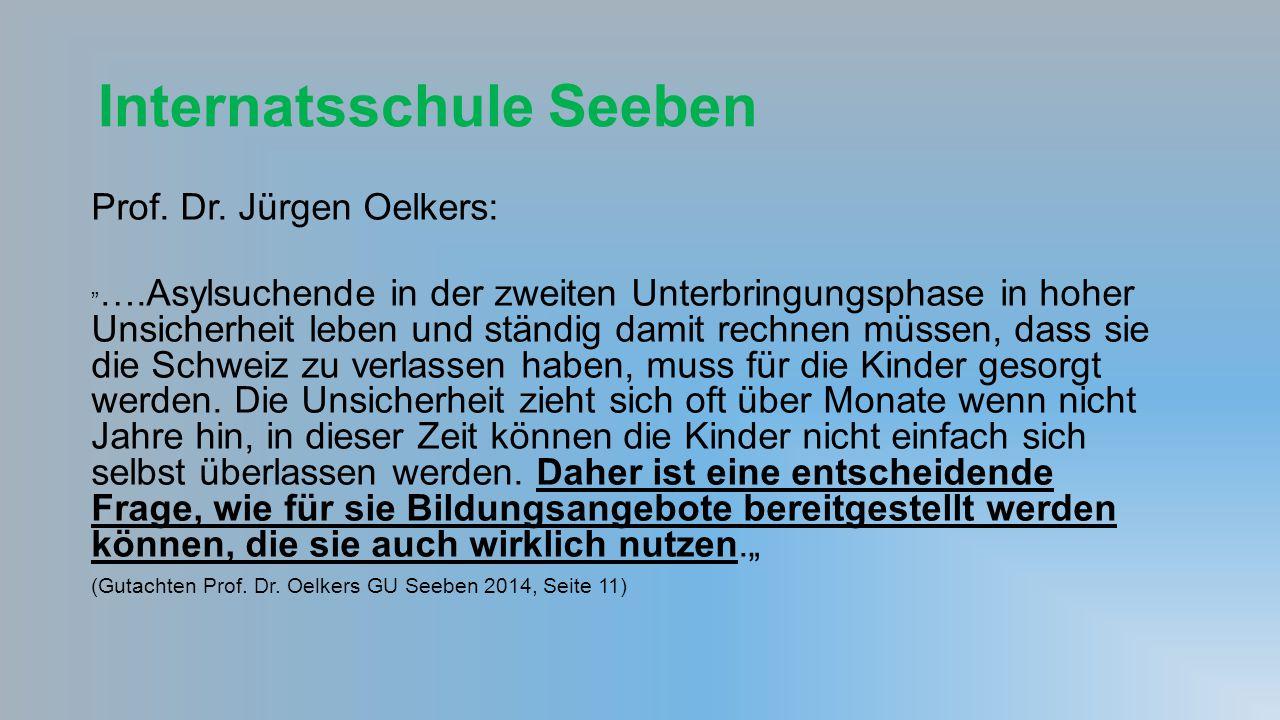 """Internatsschule Seeben Prof. Dr. Jürgen Oelkers: """" ….Asylsuchende in der zweiten Unterbringungsphase in hoher Unsicherheit leben und ständig damit rec"""
