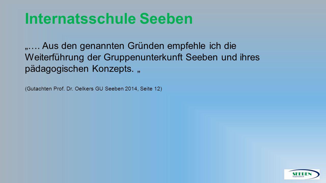 """Internatsschule Seeben """"…. Aus den genannten Gründen empfehle ich die Weiterführung der Gruppenunterkunft Seeben und ihres pädagogischen Konzepts. """" ("""