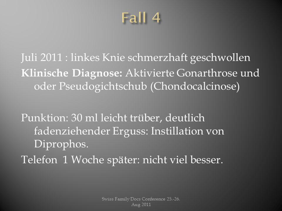 Juli 2011 : linkes Knie schmerzhaft geschwollen Klinische Diagnose: Aktivierte Gonarthrose und oder Pseudogichtschub (Chondocalcinose) Punktion: 30 ml