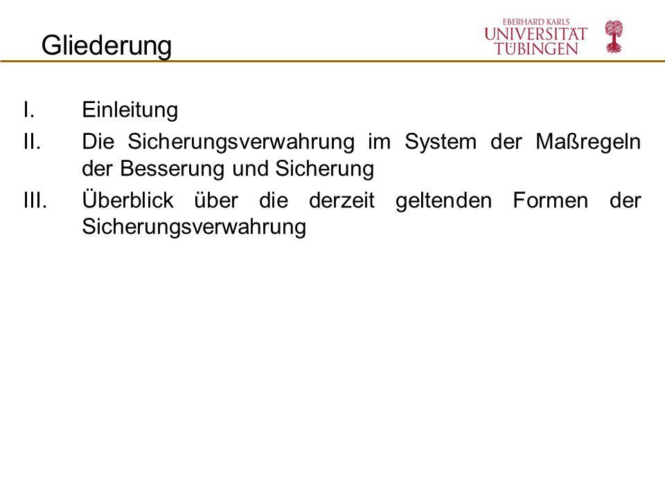 Verhängung der Freiheitsstrafe Strafvollzug Strafe Straf ende Sicherungs- verwahrung Ma ß regel Kennzeichen der Sicherungsverwahrung (SV) II.