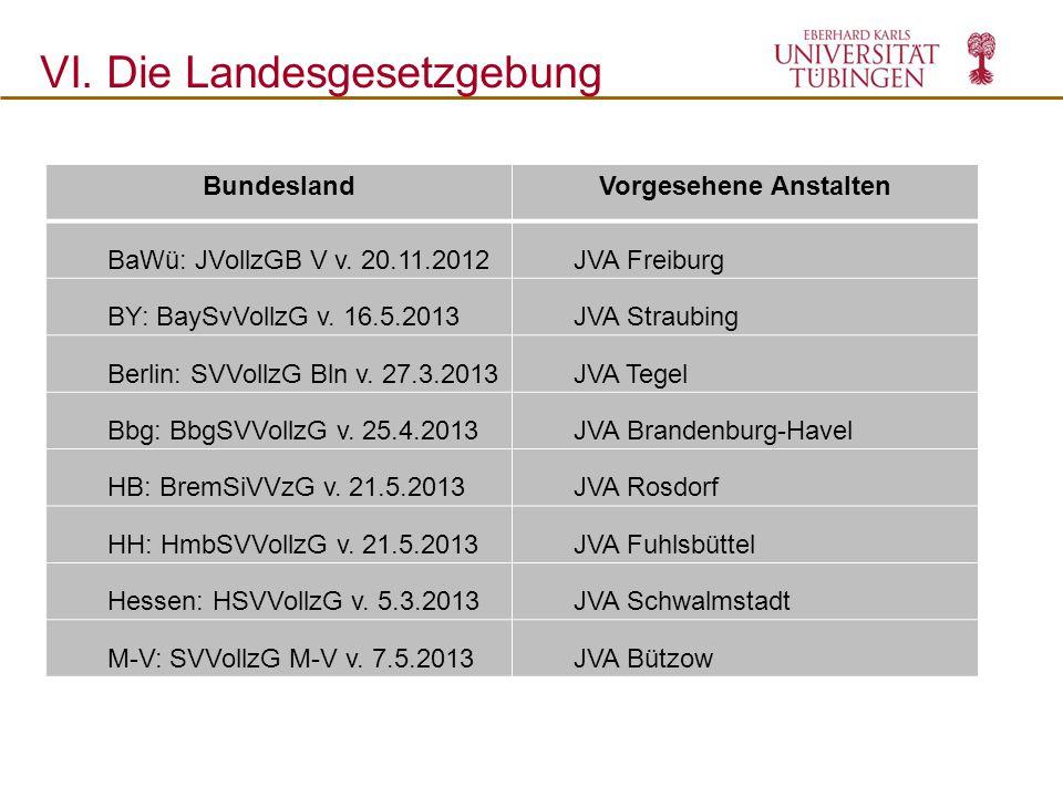 VI. Die Landesgesetzgebung BundeslandVorgesehene Anstalten BaWü: JVollzGB V v. 20.11.2012JVA Freiburg BY: BaySvVollzG v. 16.5.2013JVA Straubing Berlin