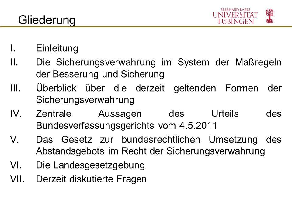 I.Einleitung II.Die Sicherungsverwahrung im System der Maßregeln der Besserung und Sicherung III.Überblick über die derzeit geltenden Formen der Siche