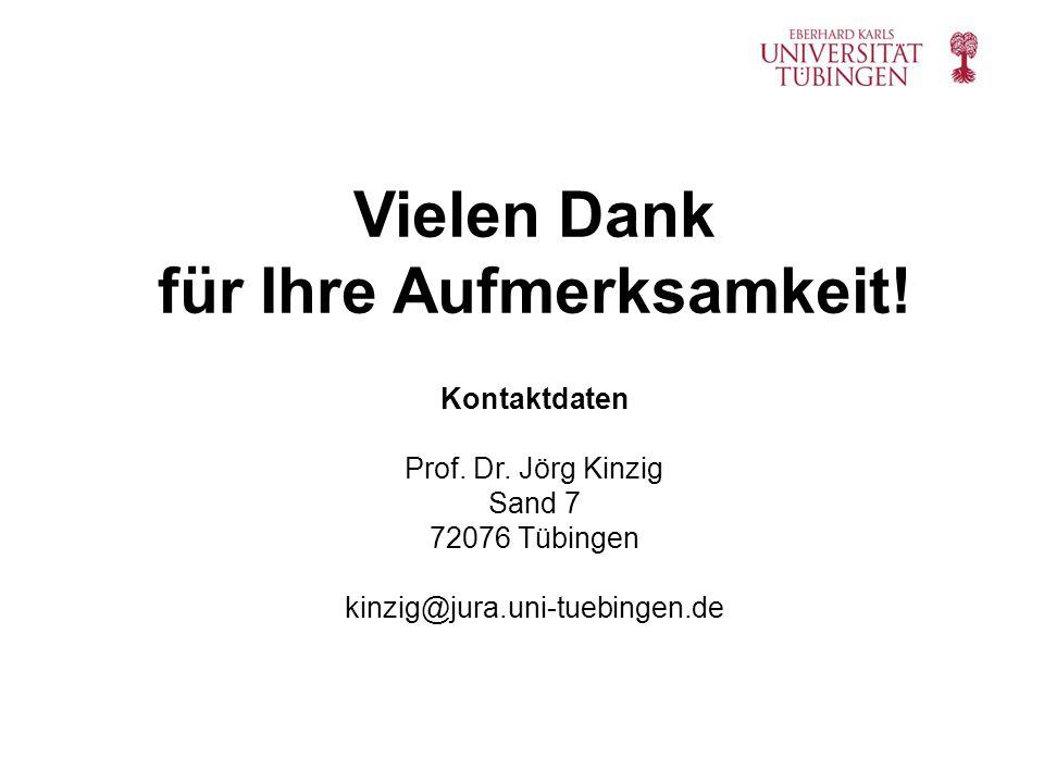 Kontaktdaten Prof. Dr. Jörg Kinzig Sand 7 72076 Tübingen kinzig@jura.uni-tuebingen.de Vielen Dank für Ihre Aufmerksamkeit!