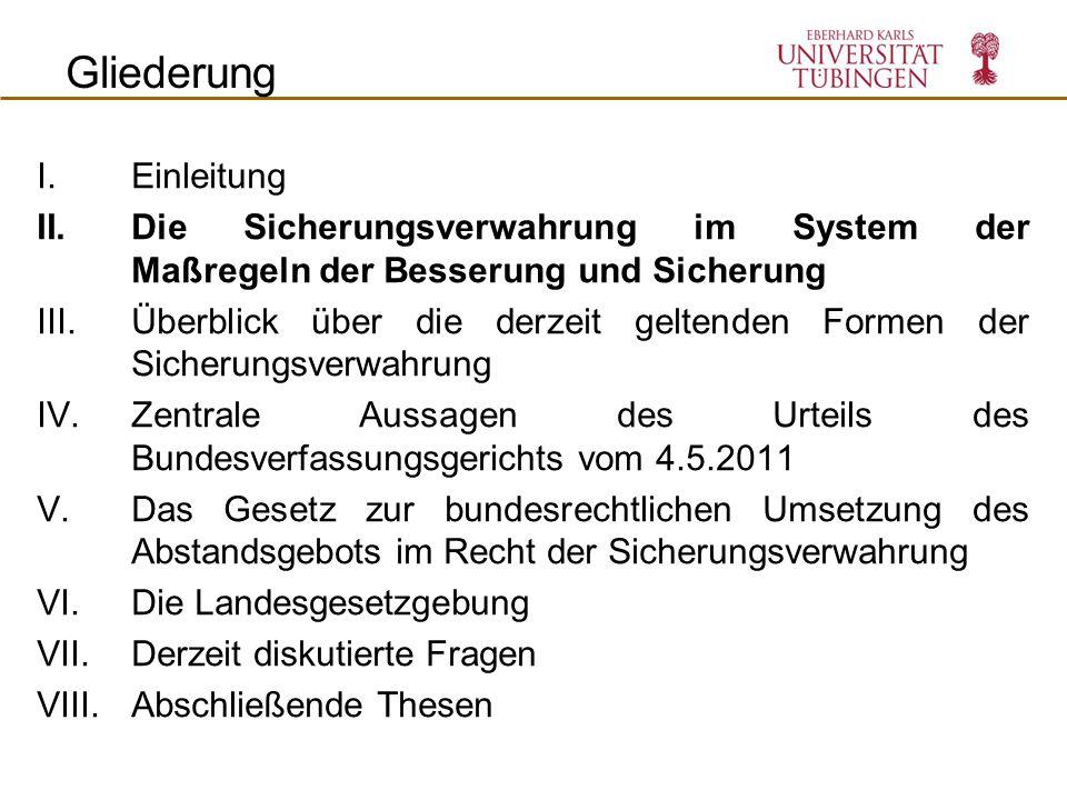 Die Sicherungsverwahrung nach dem 1.1.2011 Intention des Gesetzgebers Konsolidierung der primären SV (§ 66 StGB) Ausbau der vorbehaltenen SV (§ 66a StGB) Beschränkung der nachträglichen SV (§ 66b StGB) III.