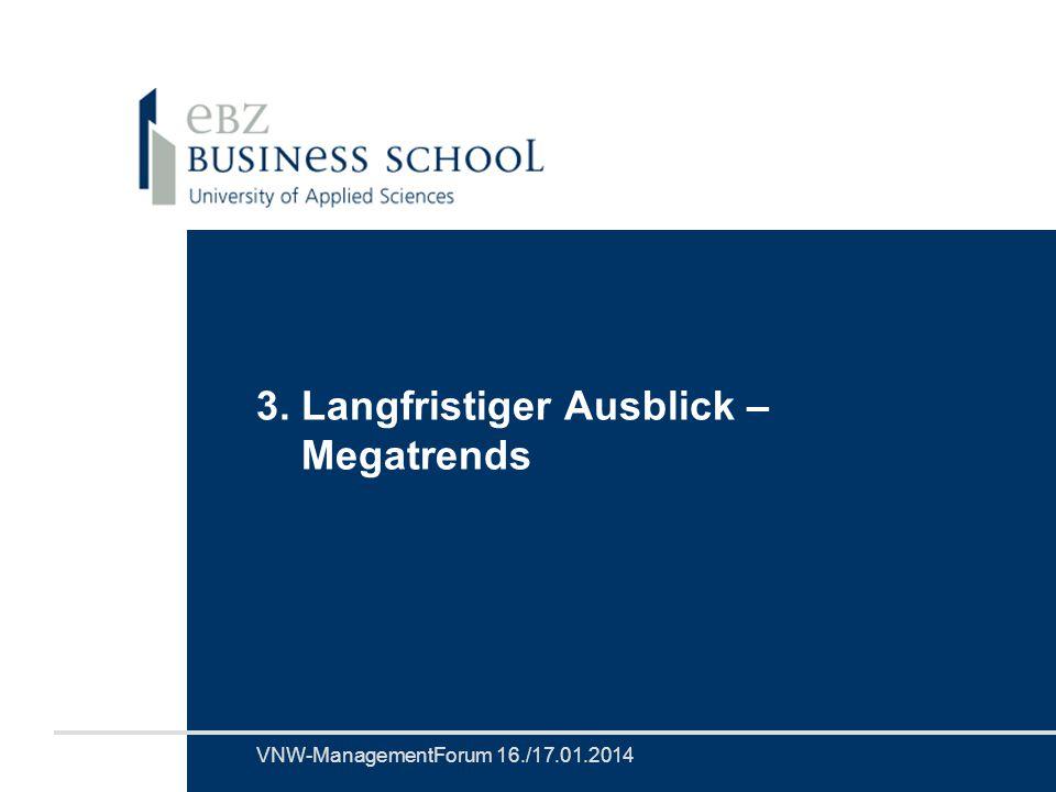 Prof. Dr. Volker EichenerVNW-ManagementForum 16./17.01.2014 3. Langfristiger Ausblick – Megatrends