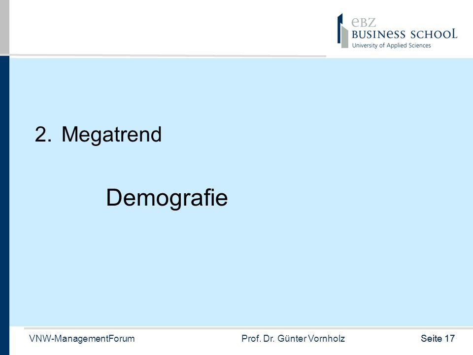 VNW-ManagementForumProf. Dr. Günter VornholzSeite 17 2.Megatrend Demografie