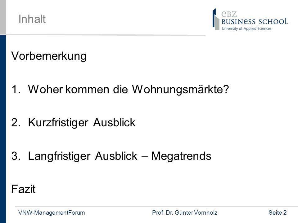 VNW-ManagementForumProf. Dr. Günter VornholzSeite 2 Inhalt Vorbemerkung 1.Woher kommen die Wohnungsmärkte? 2.Kurzfristiger Ausblick 3.Langfristiger Au