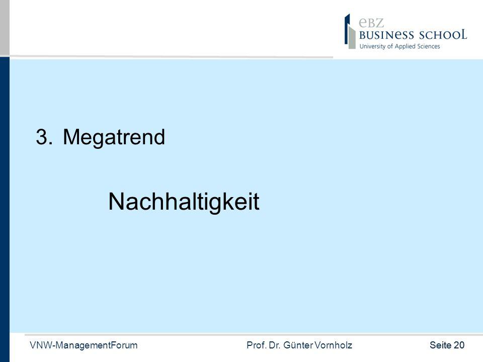 VNW-ManagementForumProf. Dr. Günter VornholzSeite 20 3.Megatrend Nachhaltigkeit