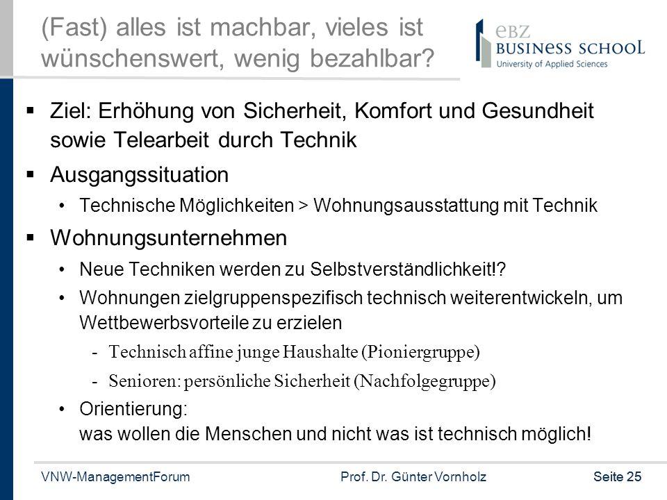 VNW-ManagementForumProf. Dr. Günter VornholzSeite 25 (Fast) alles ist machbar, vieles ist wünschenswert, wenig bezahlbar?  Ziel: Erhöhung von Sicherh