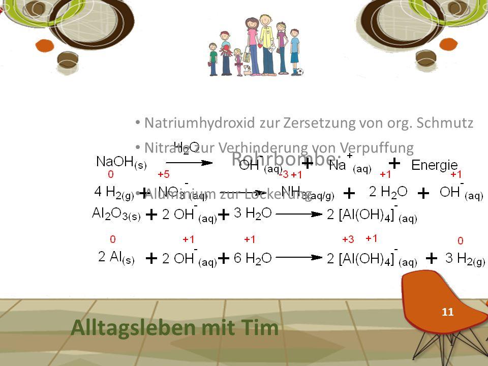 Rohrbombe: Alltagsleben mit Tim Natriumhydroxid zur Zersetzung von org. Schmutz Aluminium zur Lockerung Nitrate zur Verhinderung von Verpuffung 11