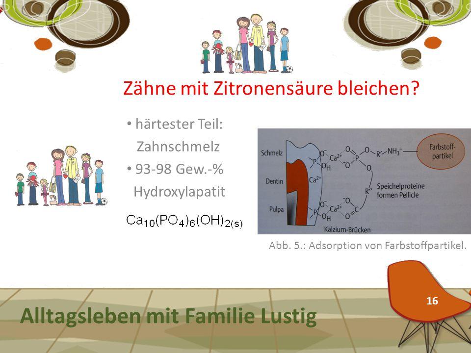 Alltagsleben mit Familie Lustig 16 Zähne mit Zitronensäure bleichen? härtester Teil: Zahnschmelz 93-98 Gew.-% Hydroxylapatit Abb. 5.: Adsorption von F