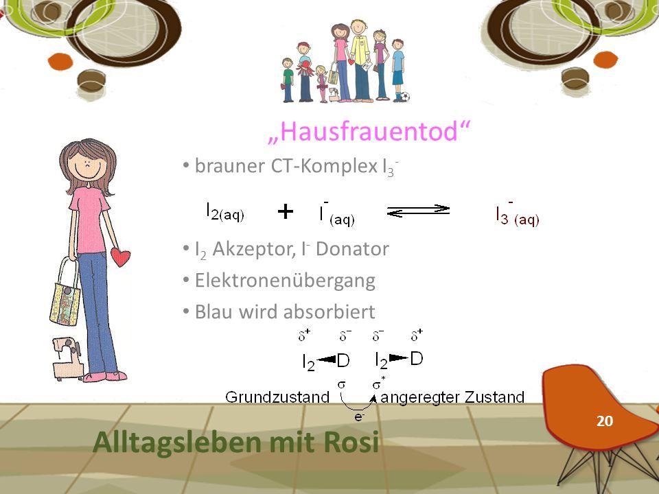 """""""Hausfrauentod"""" Alltagsleben mit Rosi brauner CT-Komplex I 3 - 20 I 2 Akzeptor, I - Donator Elektronenübergang Blau wird absorbiert"""