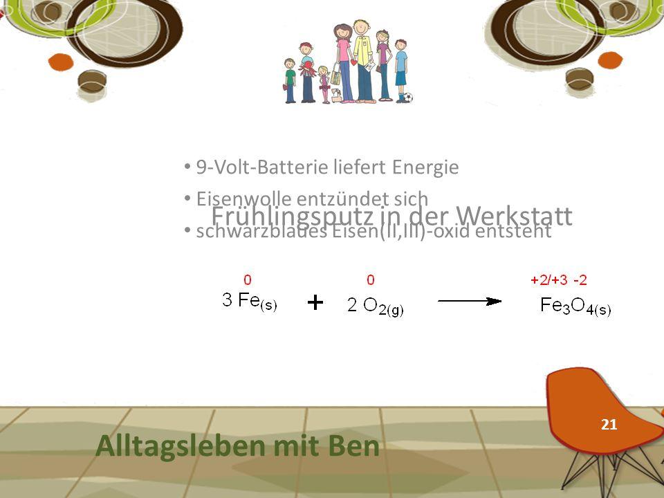Frühlingsputz in der Werkstatt Alltagsleben mit Ben 9-Volt-Batterie liefert Energie Eisenwolle entzündet sich schwarzblaues Eisen(II,III)-oxid entsteh