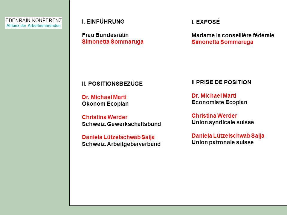 EBENRAIN-KONFERENZ Allianz der Arbeitnehmenden I. EINFÜHRUNG Frau Bundesrätin Simonetta Sommaruga II. POSITIONSBEZÜGE Dr. Michael Marti Ökonom Ecoplan