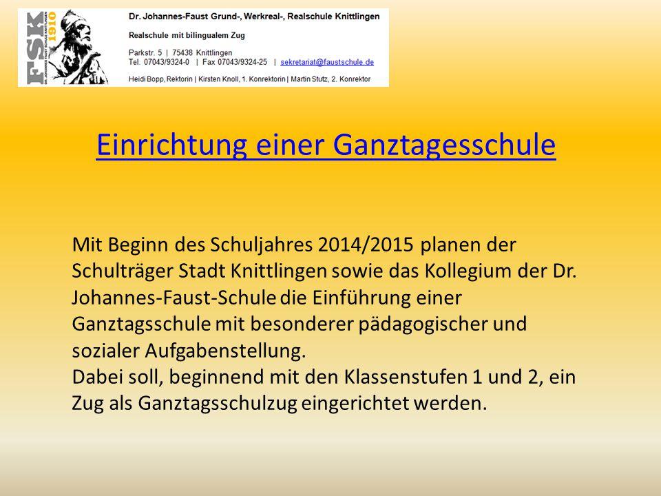 Einrichtung einer Ganztagesschule Mit Beginn des Schuljahres 2014/2015 planen der Schulträger Stadt Knittlingen sowie das Kollegium der Dr. Johannes-F
