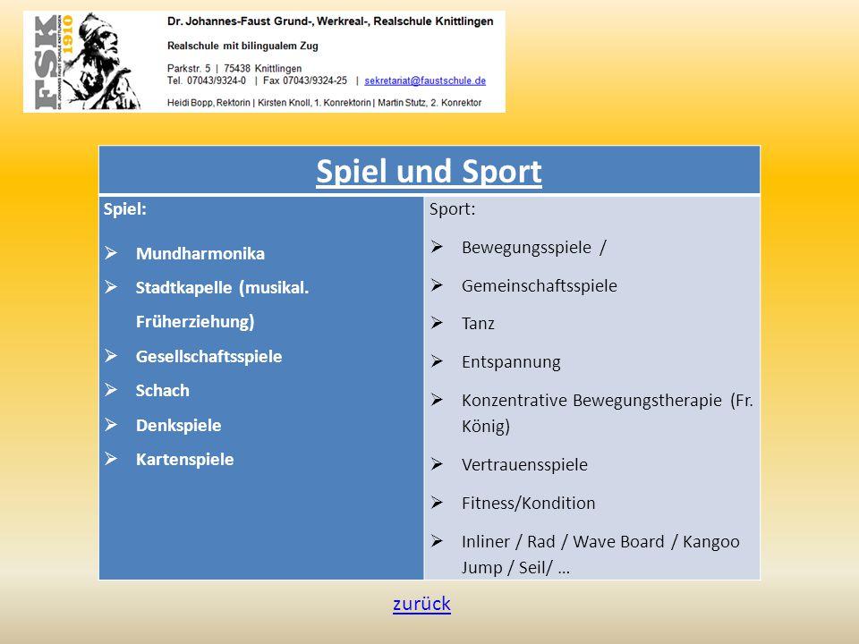 Spiel und Sport Spiel:  Mundharmonika  Stadtkapelle (musikal. Früherziehung)  Gesellschaftsspiele  Schach  Denkspiele  Kartenspiele Sport:  Bew