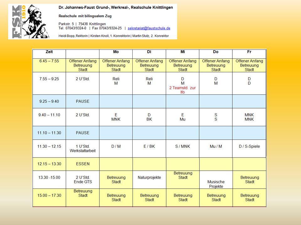 Stundenplan Klasse 2
