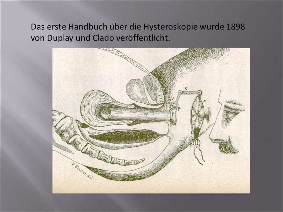 Das erste Handbuch über die Hysteroskopie wurde 1898 von Duplay und Clado veröffentlicht.