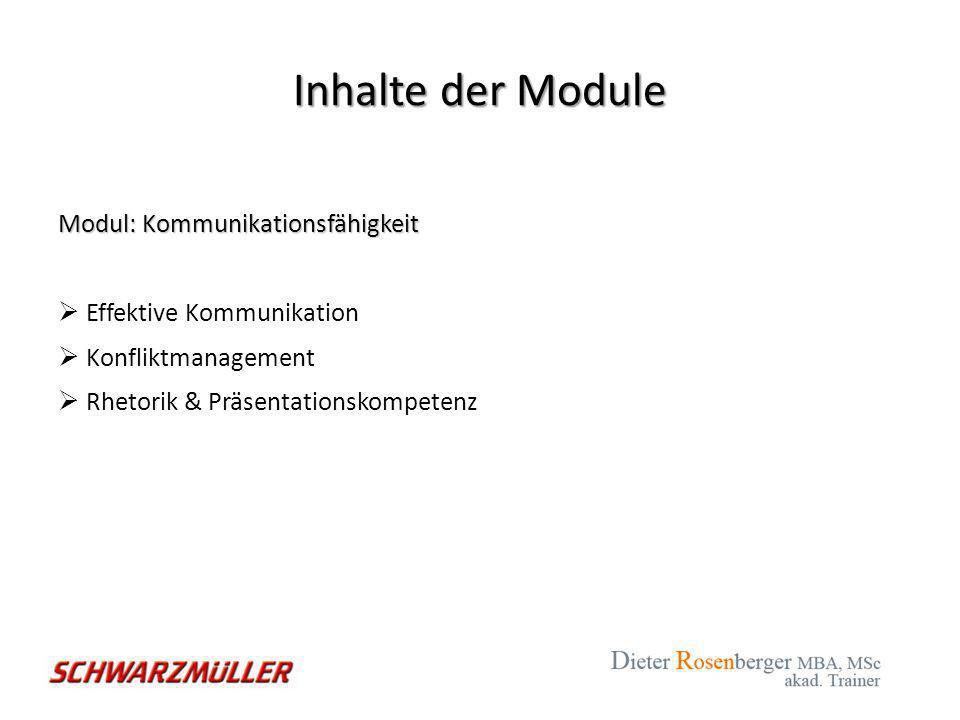 Inhalte der Module Modul: Motivation  Ausbau der Lernbereitschaft  Motivation  Zielorientiertes Denken