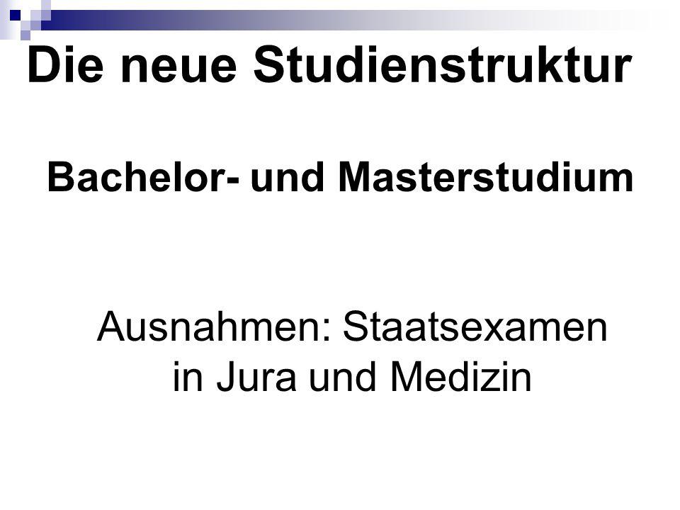 Die neue Studienstruktur Bachelor- und Masterstudium Ausnahmen: Staatsexamen in Jura und Medizin