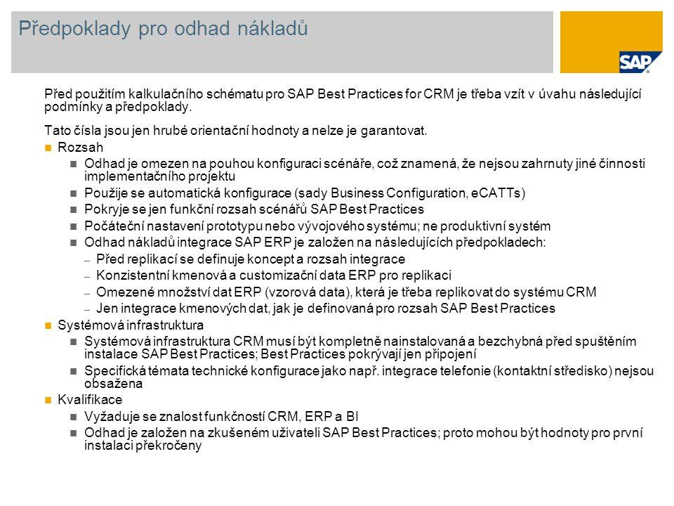 Předpoklady pro odhad nákladů Před použitím kalkulačního schématu pro SAP Best Practices for CRM je třeba vzít v úvahu následující podmínky a předpokl