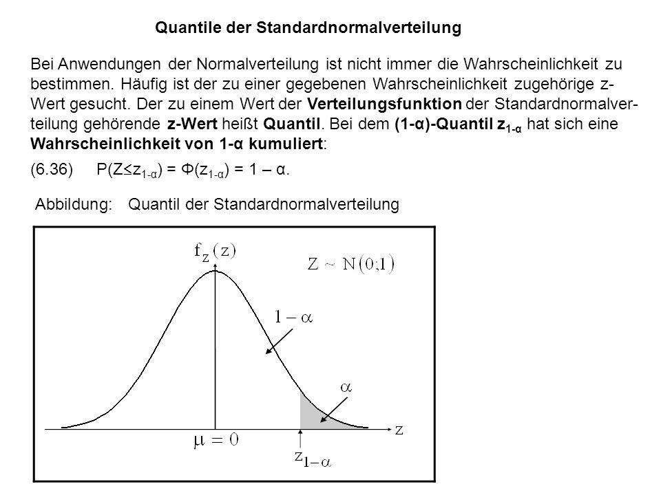 Quantile der Standardnormalverteilung Bei Anwendungen der Normalverteilung ist nicht immer die Wahrscheinlichkeit zu bestimmen.