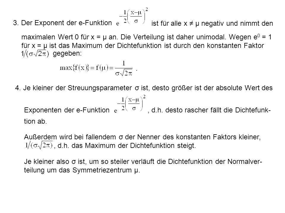 3. Der Exponent der e-Funktion ist für alle x ≠ μ negativ und nimmt den maximalen Wert 0 für x = μ an. Die Verteilung ist daher unimodal. Wegen e 0 =