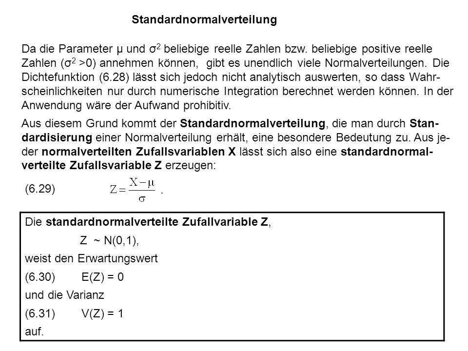 Standardnormalverteilung Da die Parameter μ und σ 2 beliebige reelle Zahlen bzw.