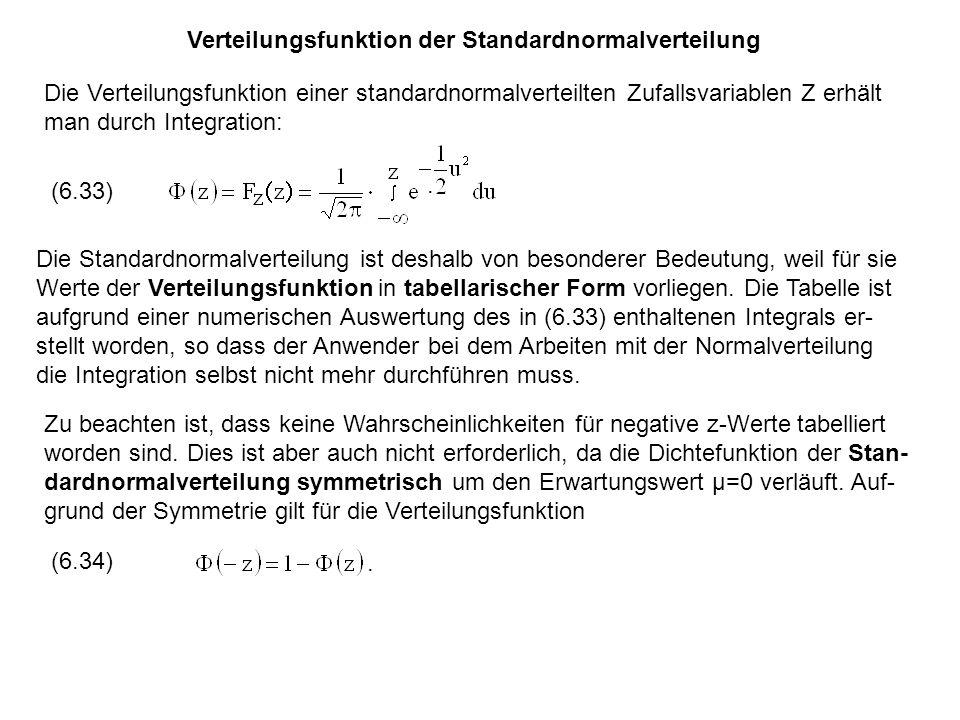 Verteilungsfunktion der Standardnormalverteilung Die Verteilungsfunktion einer standardnormalverteilten Zufallsvariablen Z erhält man durch Integration: (6.33).