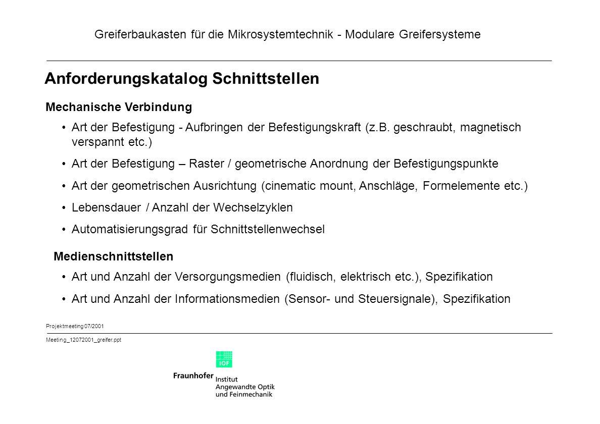 Greiferbaukasten für die Mikrosystemtechnik - Modulare Greifersysteme Projektmeeting 07/2001 Meeting_12072001_greifer.ppt Anforderungskatalog Schnitts