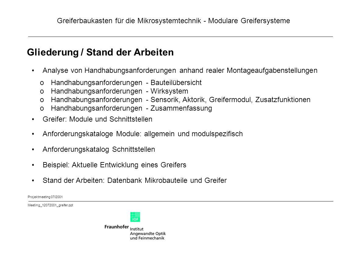 Greiferbaukasten für die Mikrosystemtechnik - Modulare Greifersysteme Projektmeeting 07/2001 Meeting_12072001_greifer.ppt Gliederung / Stand der Arbei