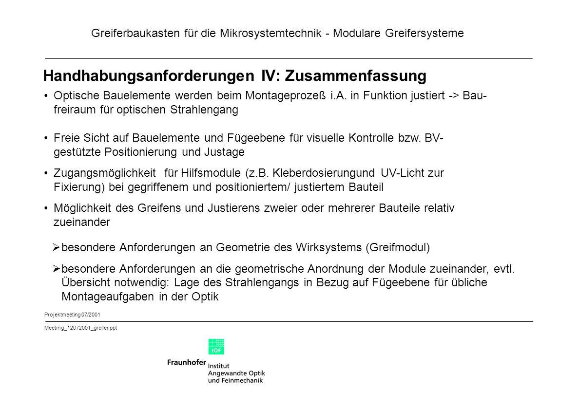 Greiferbaukasten für die Mikrosystemtechnik - Modulare Greifersysteme Projektmeeting 07/2001 Meeting_12072001_greifer.ppt Handhabungsanforderungen IV: Zusammenfassung Optische Bauelemente werden beim Montageprozeß i.A.