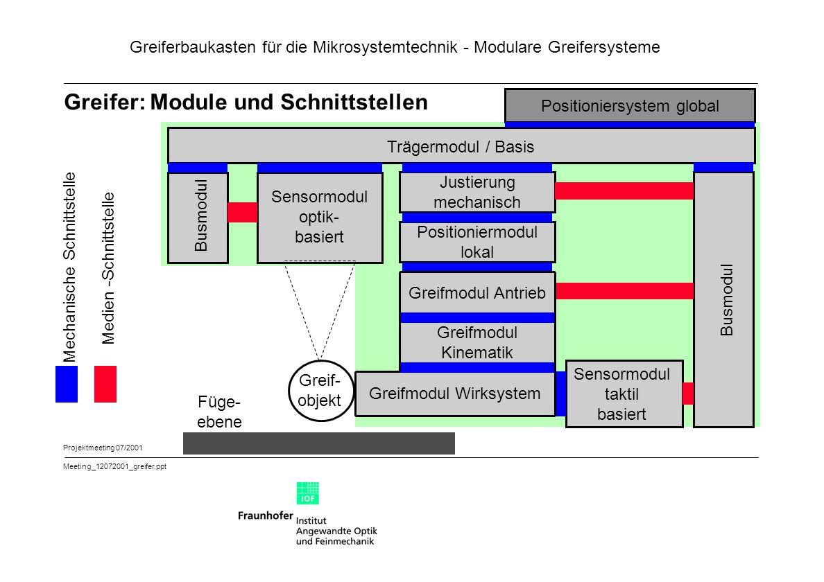 Greiferbaukasten für die Mikrosystemtechnik - Modulare Greifersysteme Projektmeeting 07/2001 Meeting_12072001_greifer.ppt Greifer: Module und Schnitts