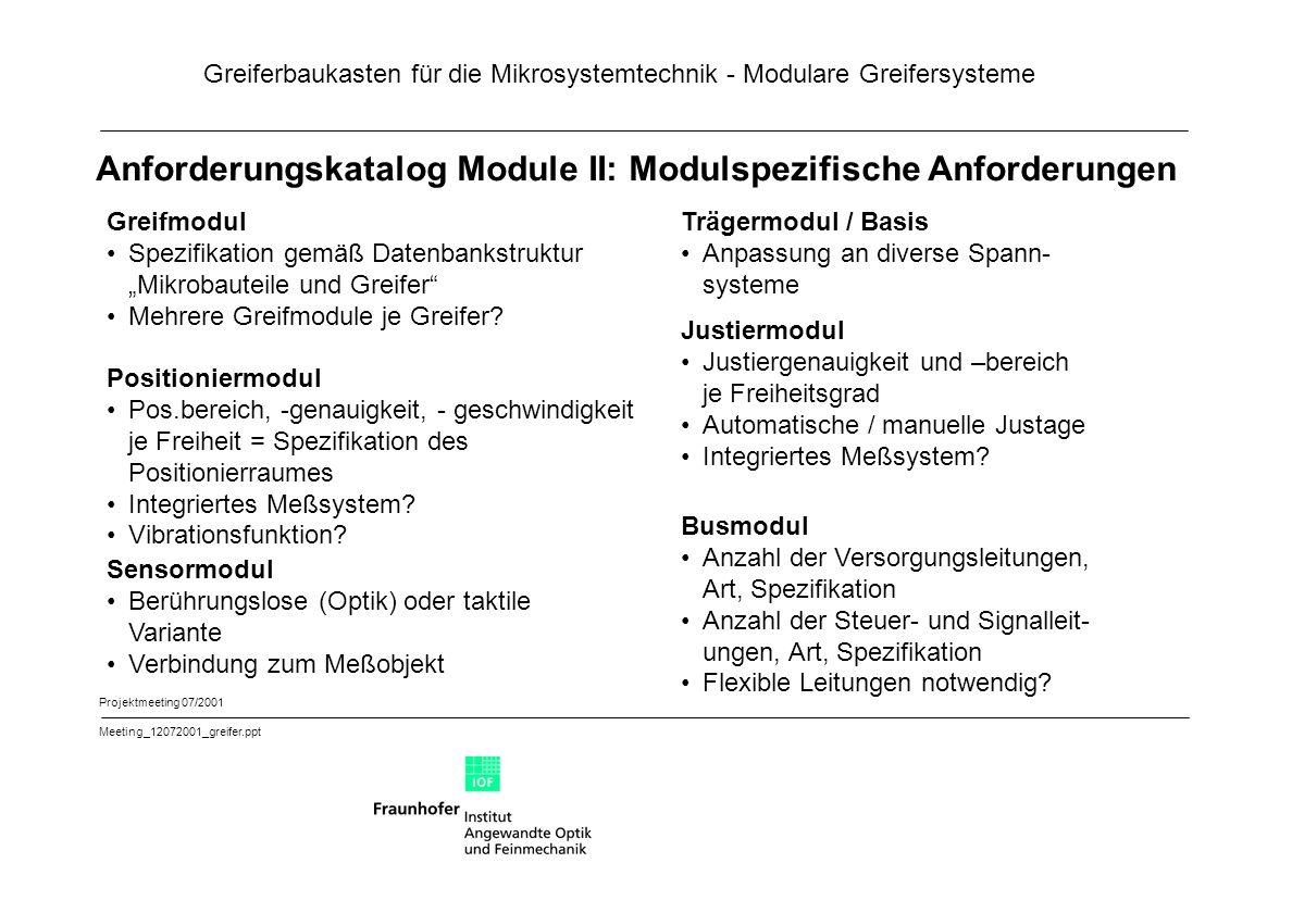 """Greiferbaukasten für die Mikrosystemtechnik - Modulare Greifersysteme Projektmeeting 07/2001 Meeting_12072001_greifer.ppt Anforderungskatalog Module II: Modulspezifische Anforderungen Greifmodul Spezifikation gemäß Datenbankstruktur """"Mikrobauteile und Greifer Mehrere Greifmodule je Greifer."""