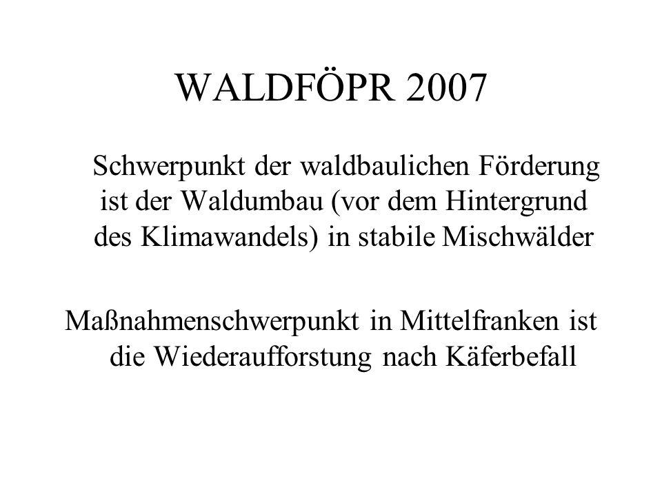 WALDFÖPR 2007 Schwerpunkt der waldbaulichen Förderung ist der Waldumbau (vor dem Hintergrund des Klimawandels) in stabile Mischwälder Maßnahmenschwerpunkt in Mittelfranken ist die Wiederaufforstung nach Käferbefall