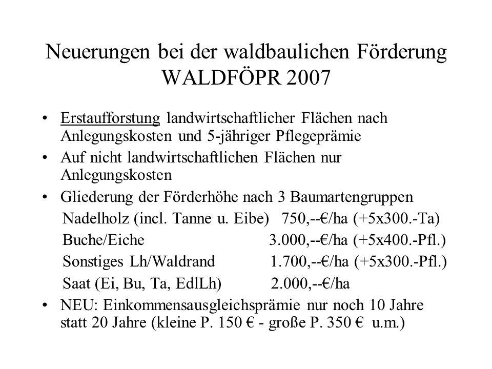 Neuerungen bei der waldbaulichen Förderung WALDFÖPR 2007 Erstaufforstung mindestens 30 % Laubholz Gruppengröße mind.
