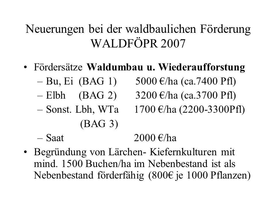 Neuerungen bei der waldbaulichen Förderung WALDFÖPR 2007 Anforderungen Waldumbau/Wiederaufforst.