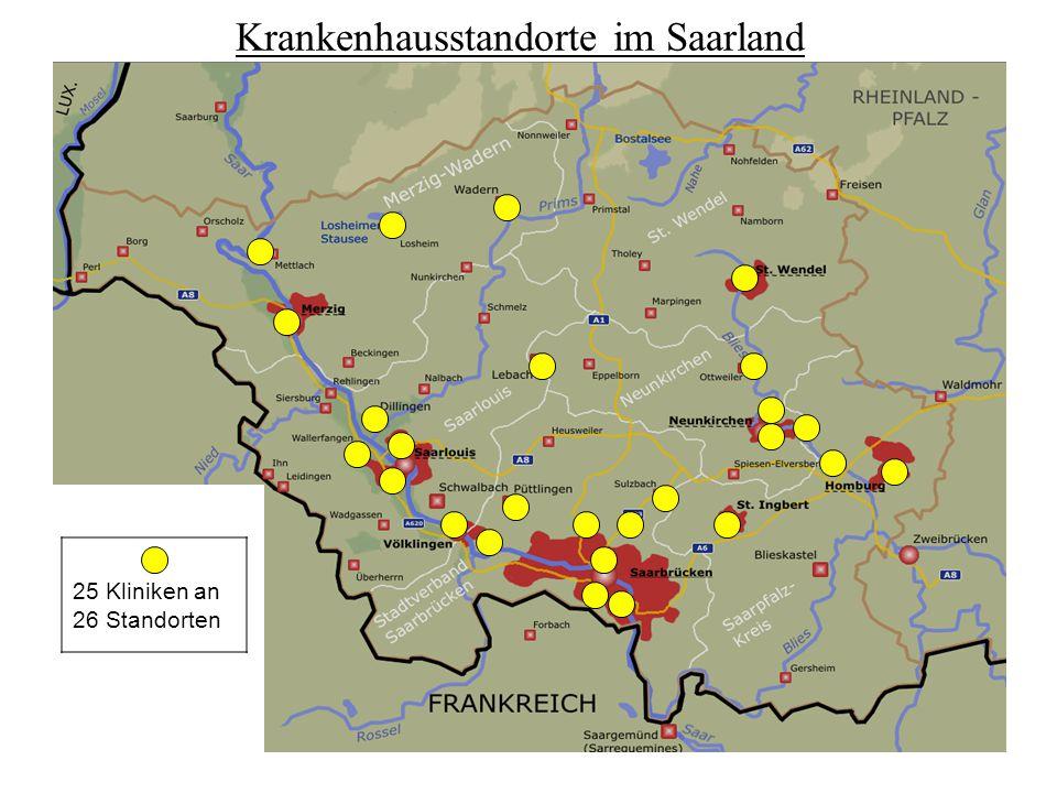 25 Kliniken an 26 Standorten Krankenhausstandorte im Saarland